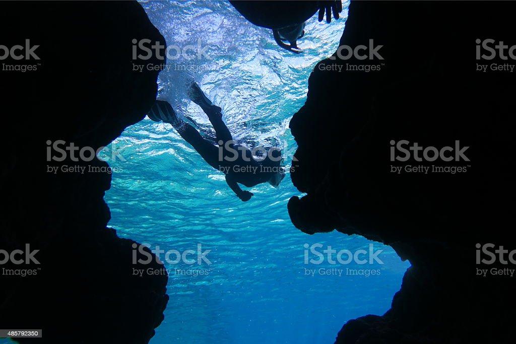 People to snorkeling stock photo