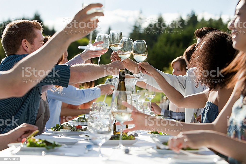 People toasting wine glasses at outdoor dinner party stock photo