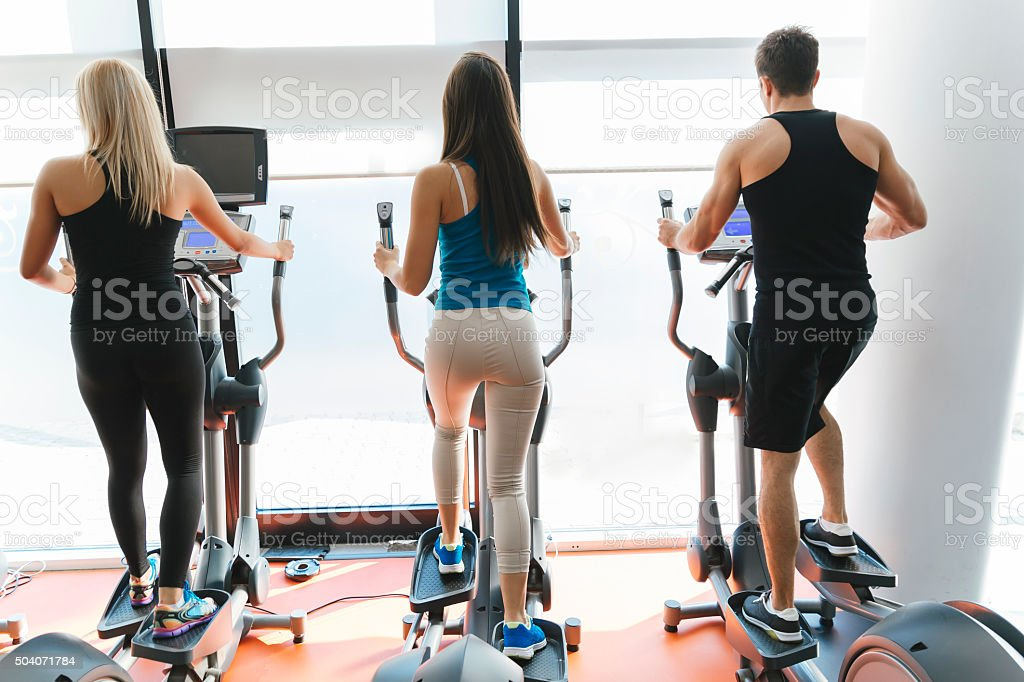 People training in gym stock photo