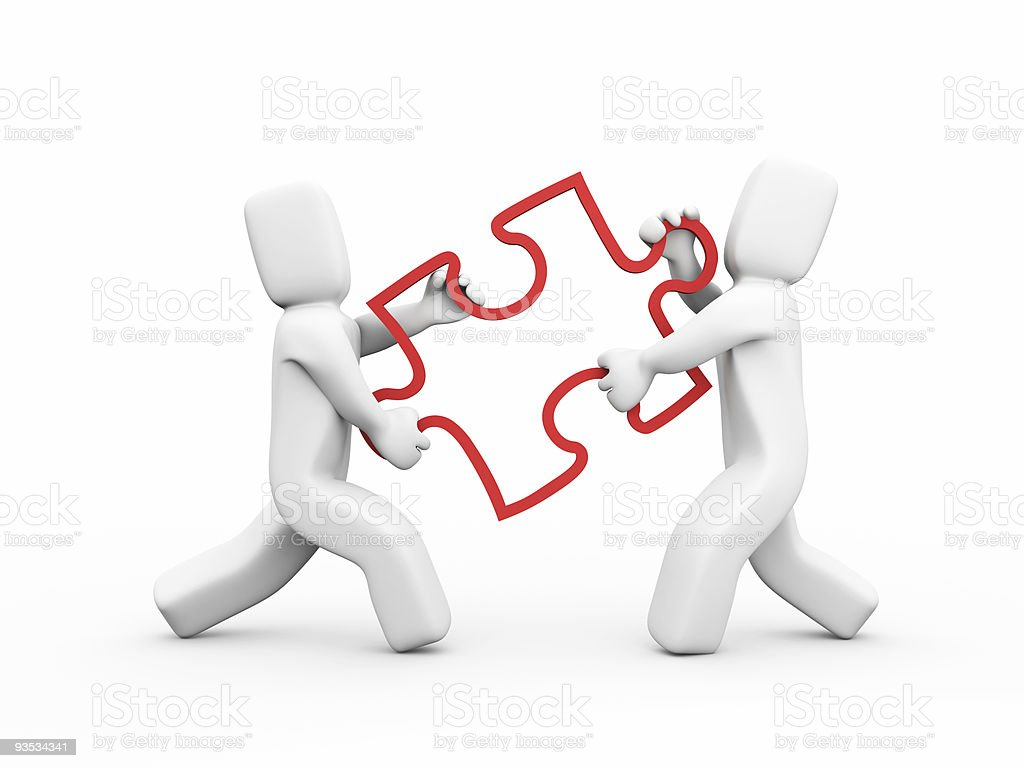 People transfer a puzzle - Teamwork concept royalty-free stock photo