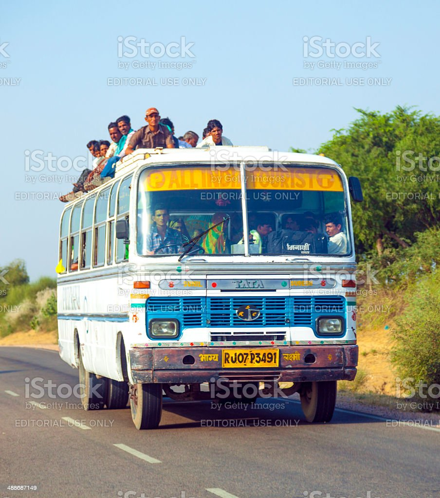 people travel by overland bus at the Jodhpur Highway stock photo