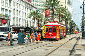 people travel with old Street car at canal street