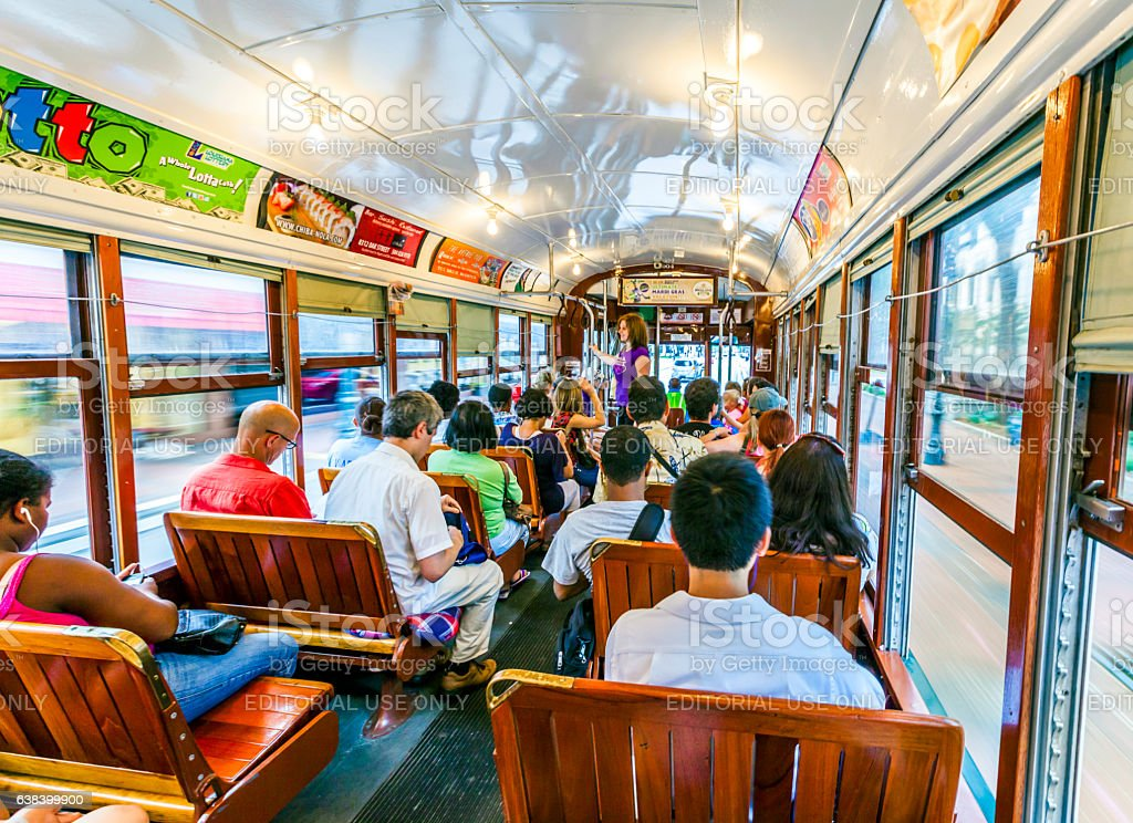 people travel with   old Street car St. Charles line stock photo
