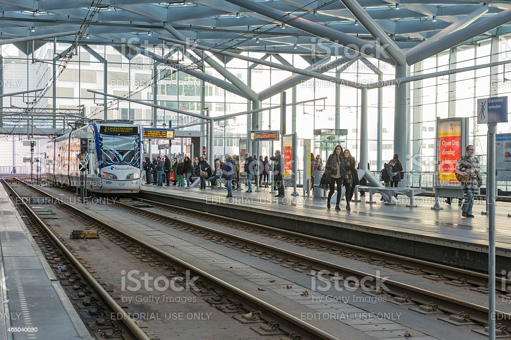 People traveling at the central Station of The Hague, stock photo