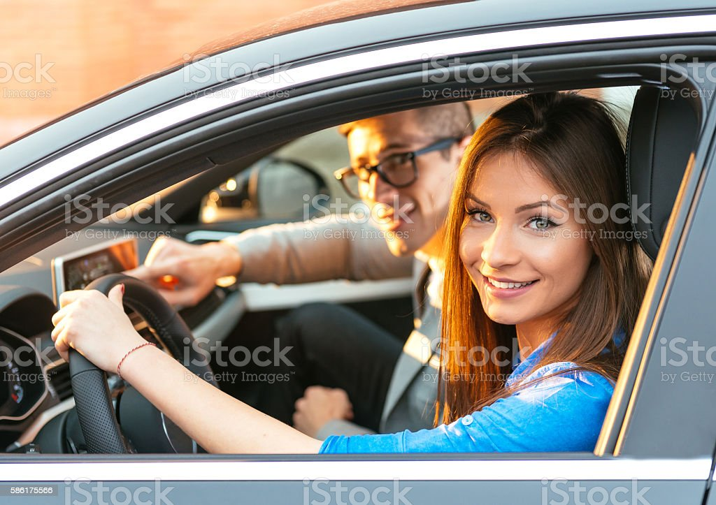 People traveling by car stock photo