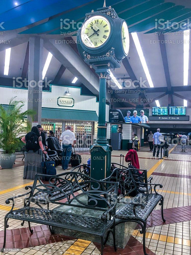 People traveling through Kahului Airport, Maui, Hawaii stock photo