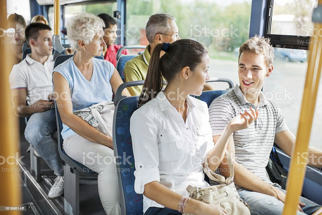 People travelling by bus. stock photo
