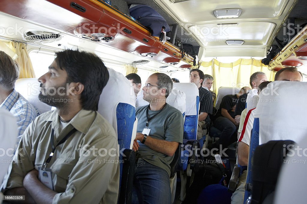 People travelling on a coach royalty-free stock photo