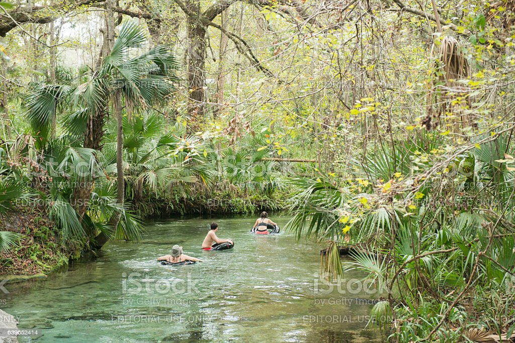 People Tubing in Fresh Spring Water Central Florida stock photo