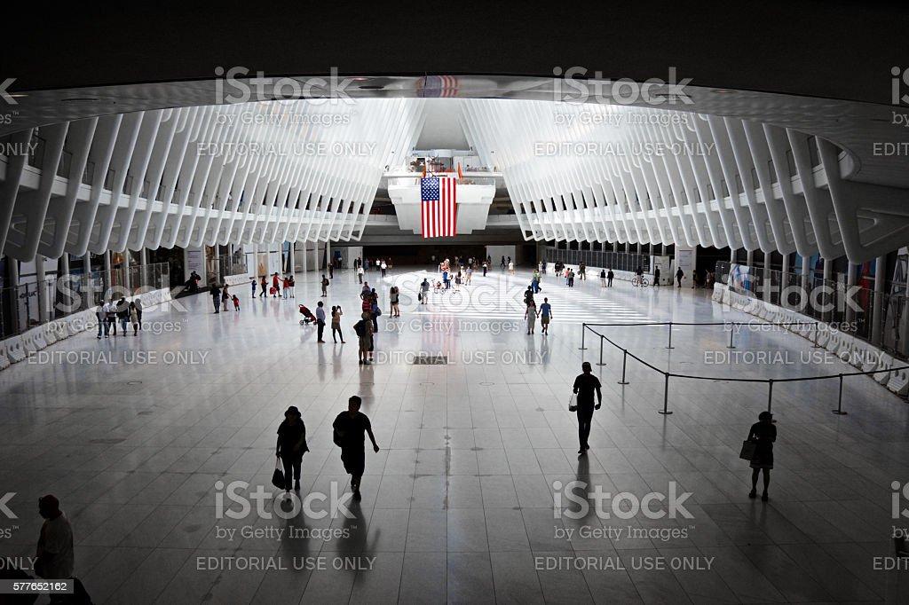 People Under the Oculus, World Trade Transportation Hub, Manhattan, NYC stock photo