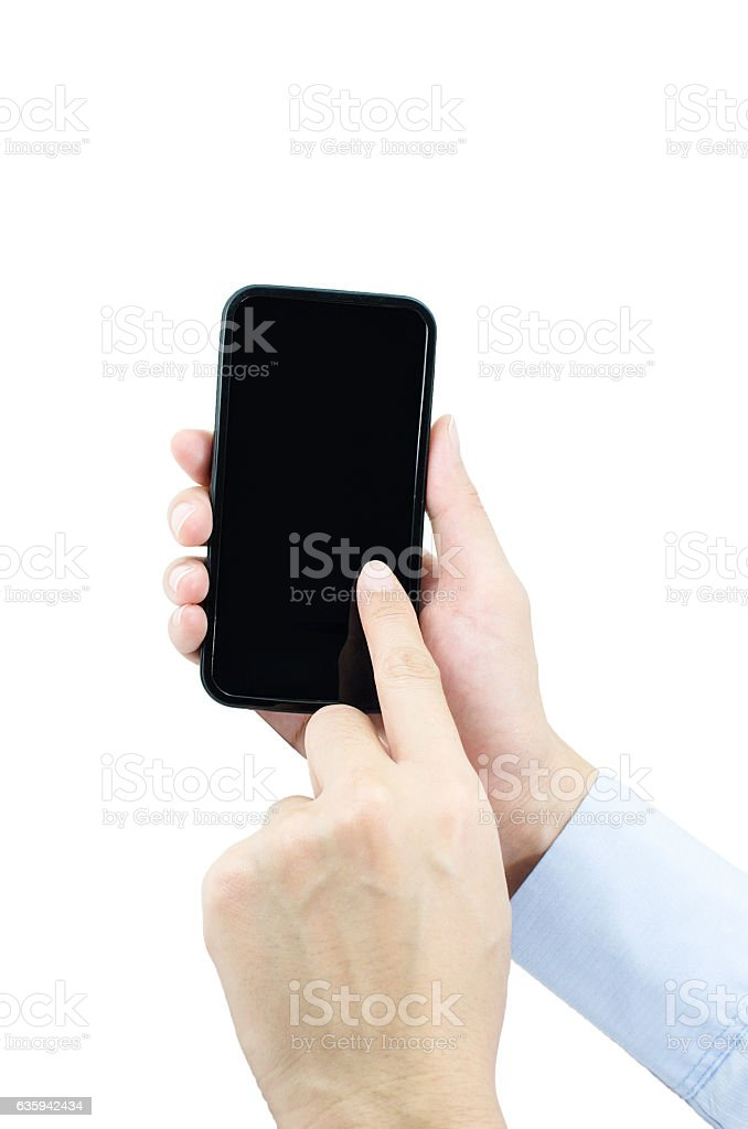 People use hand pressed on mobile stock photo