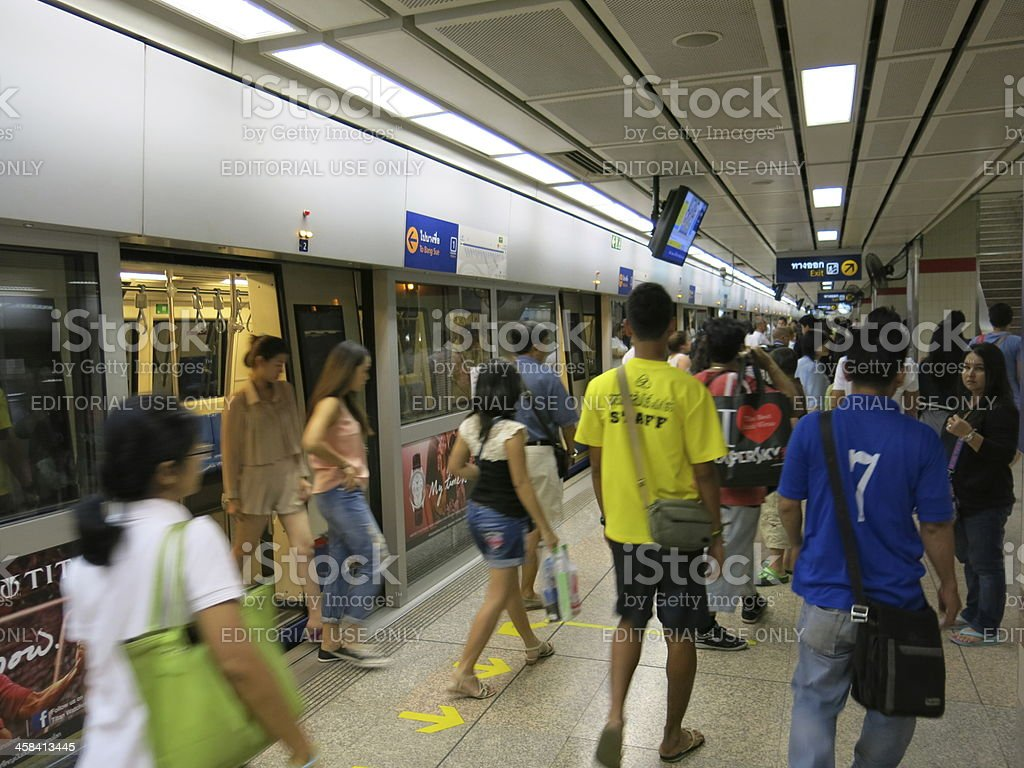 People use public transportation in Asia royalty-free stock photo