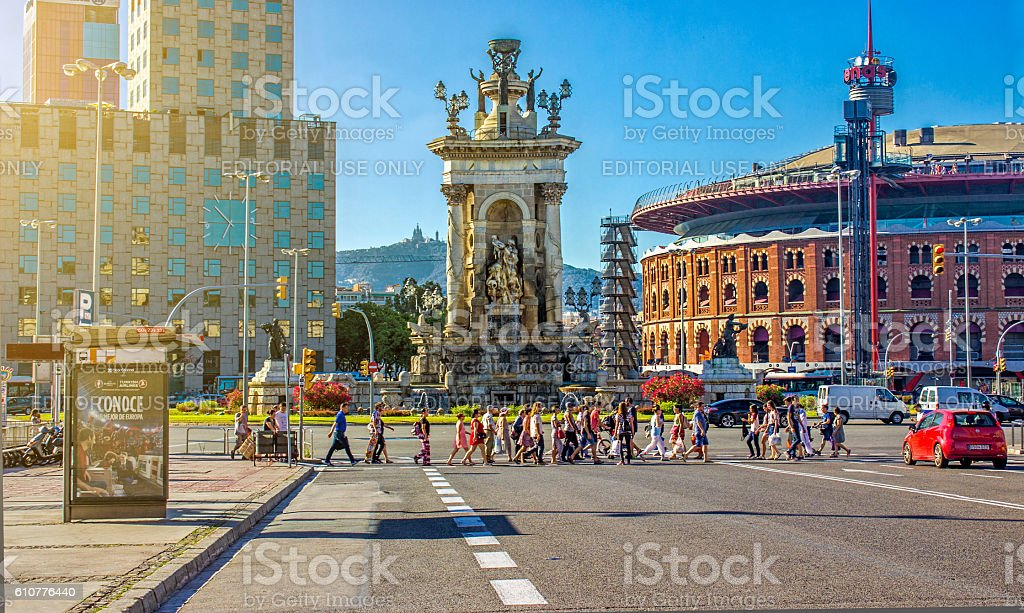 People using sidewalk in Plaza De Espana - Barcelona stock photo