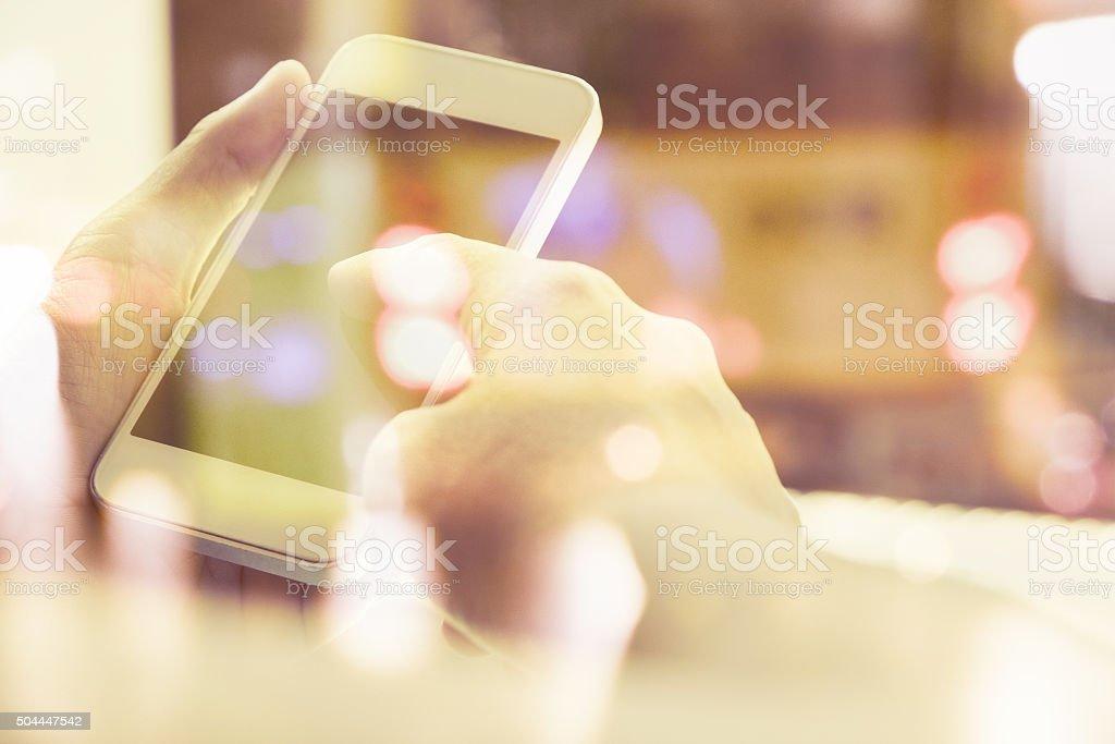 people using smart phone double exposure stock photo