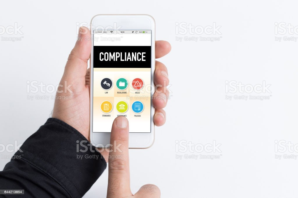 People Using Smartphone and Compliance Concept on Screen stock photo
