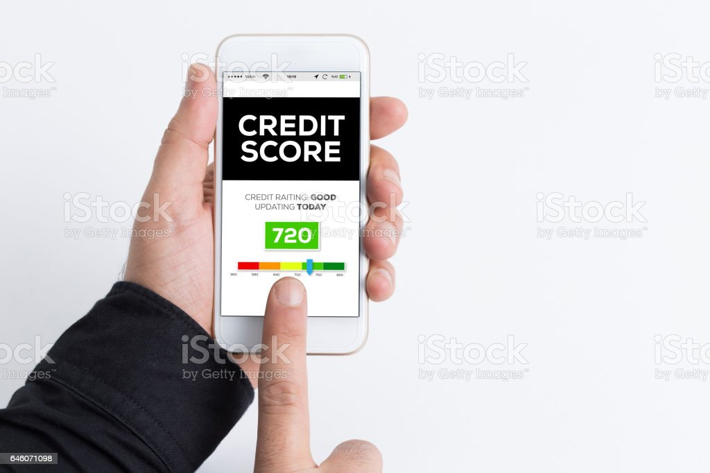 People Using Smartphone and Credit Score Concept on Screen stock photo