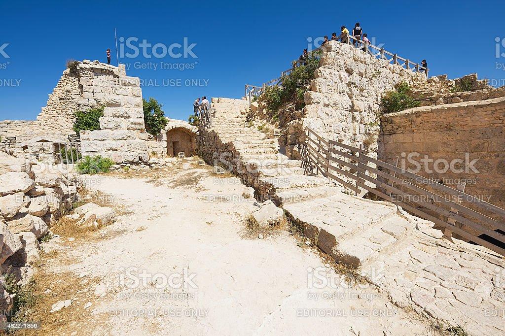 People visit Ajloun fortress in Ajloun, Jordan. stock photo