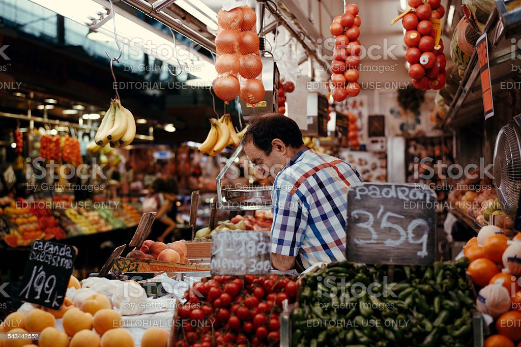 People visit and buy food in the most famous market stock photo