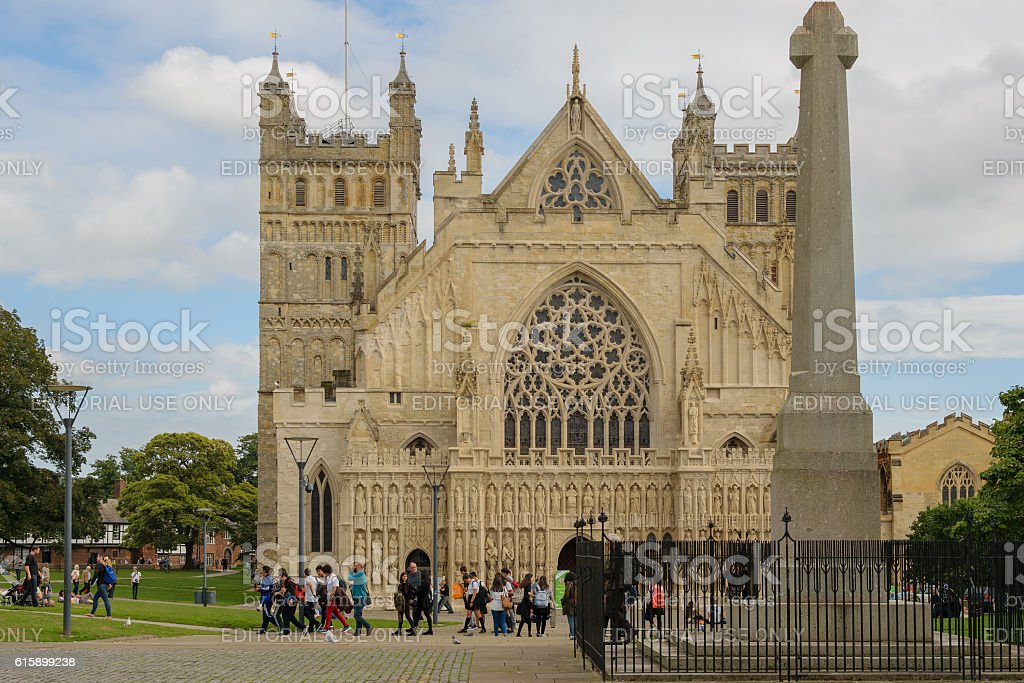 People visit Exeter Cathedral stock photo