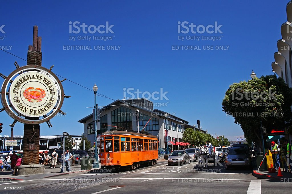 people visit Fishermans Wharf in San Francisco stock photo