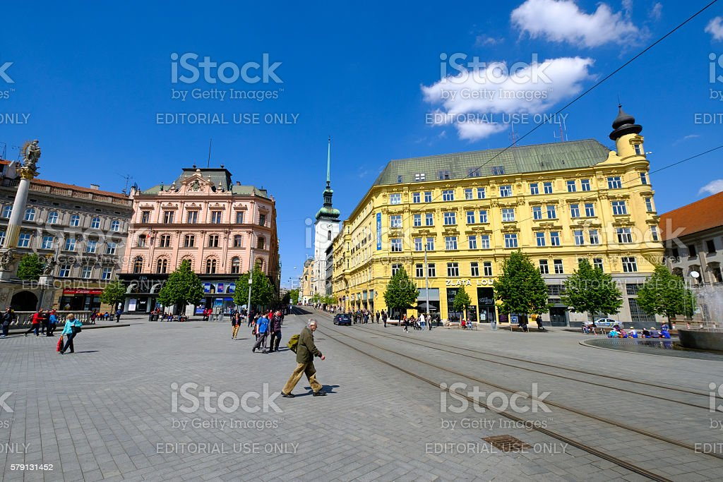 People visit Freedom Square in old city stock photo