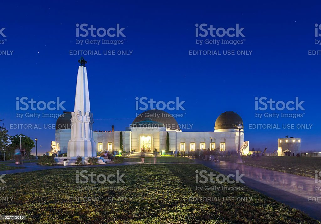 people visit  Griffith Observatory by night stock photo
