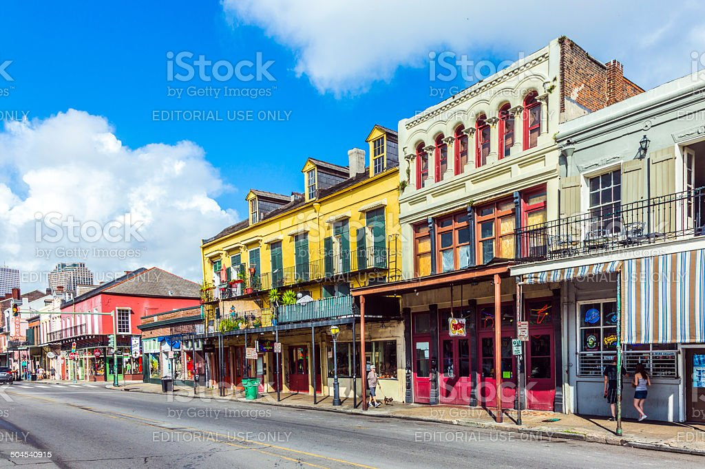 people visit historic building in the French Quarter stock photo
