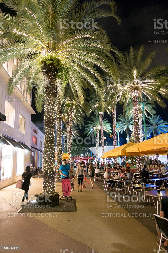 People Visit Lincoln Road Mall in South Beach Miami stock photo