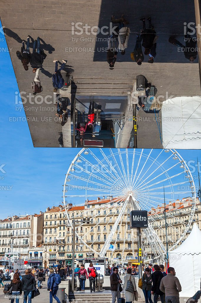people visit Norman Foster's pavilion in Marseille, France stock photo