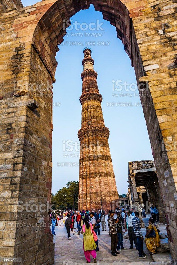people visit Qutb Minar, Delhi, the worlds tallest brick minarett stock photo
