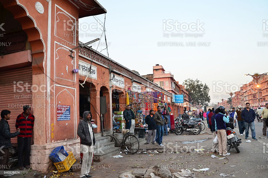People visit Streets of Indra Bazar in Jaipur stock photo