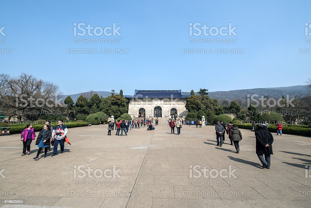 People visit Sun Yat-sen's mausoleum stock photo