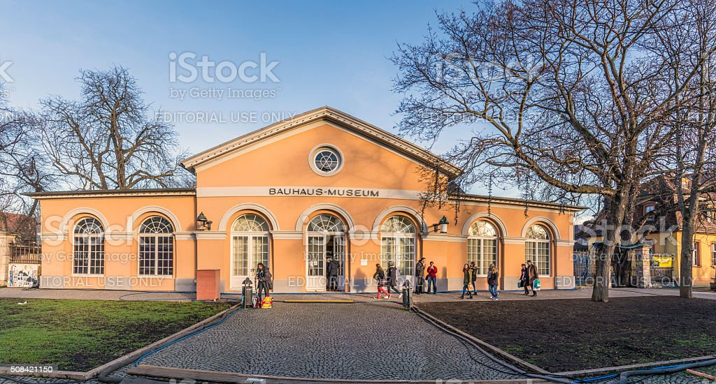 people visit the Bauhaus museum in Weimar stock photo
