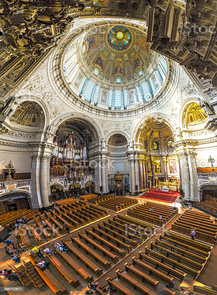 people visit the Berliner Dom stock photo