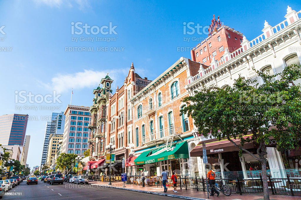 people visit the historic houses in the gaslamp quarter stock photo