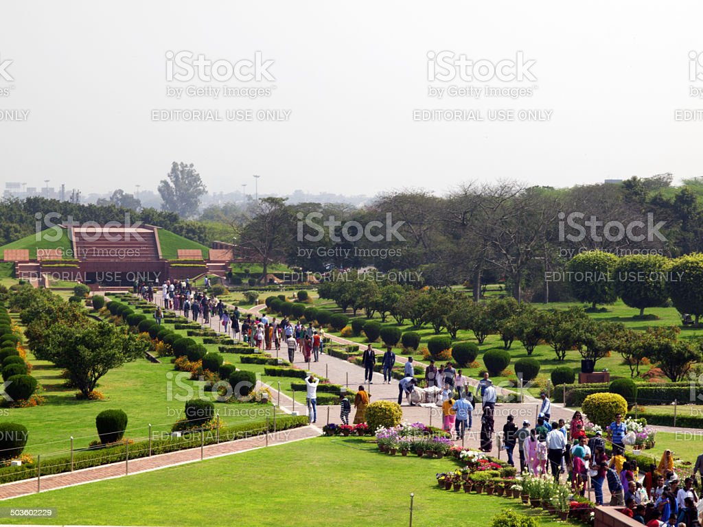 People visit the Lotus Temple in New Delhi, India stock photo