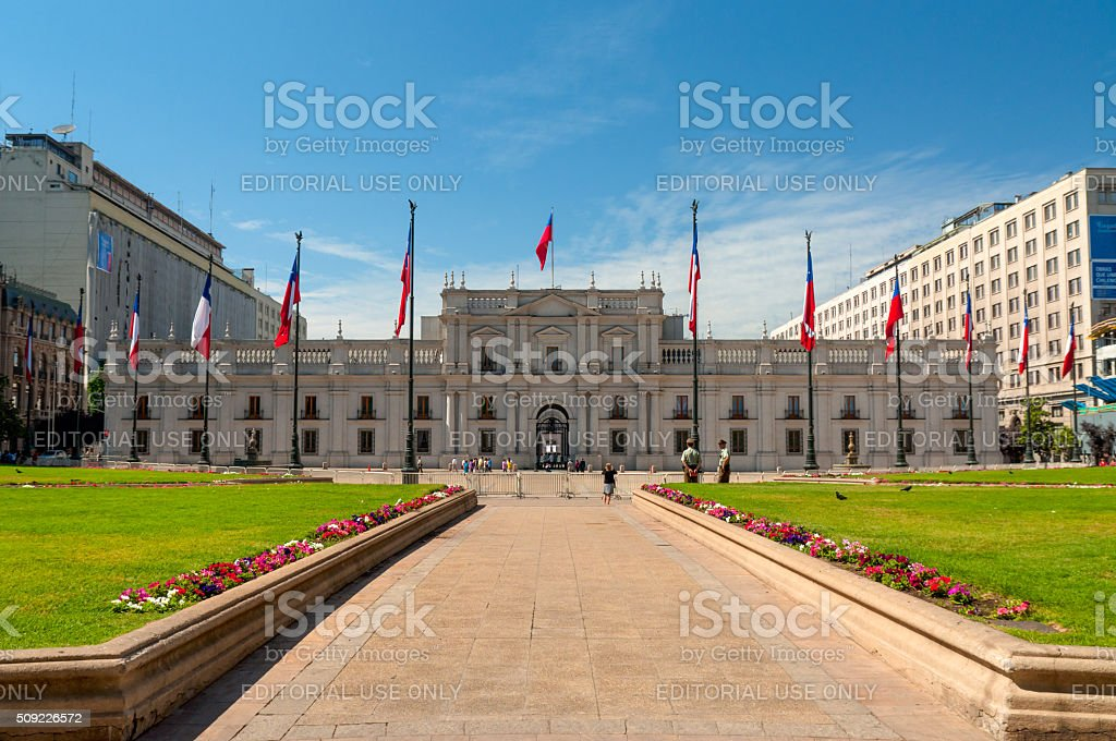 People visit the Palacio de la Moneda in Santiago, Chile stock photo