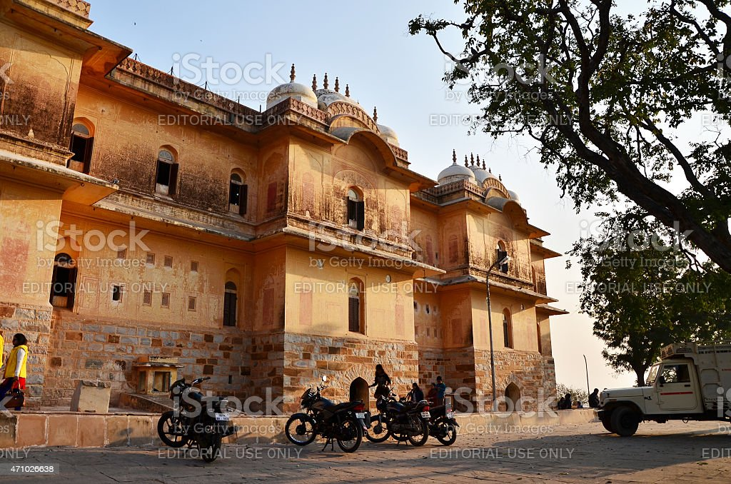 People visit Traditional architecture, Nahargarh Fort in Jaipur, Rajasthan, India. stock photo