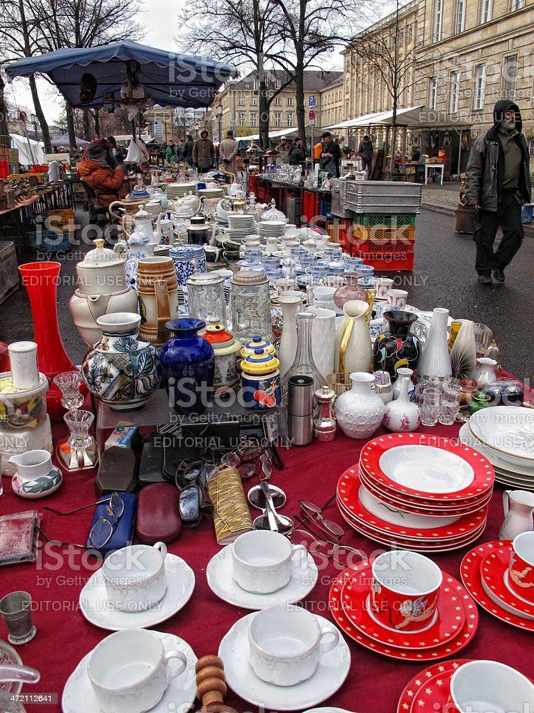 people visiting big Flea Market in the Tiergarten Berlin . Its...