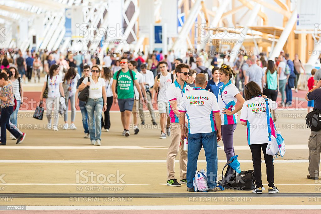 People visiting Expo 2015 in Milan, Italy stock photo