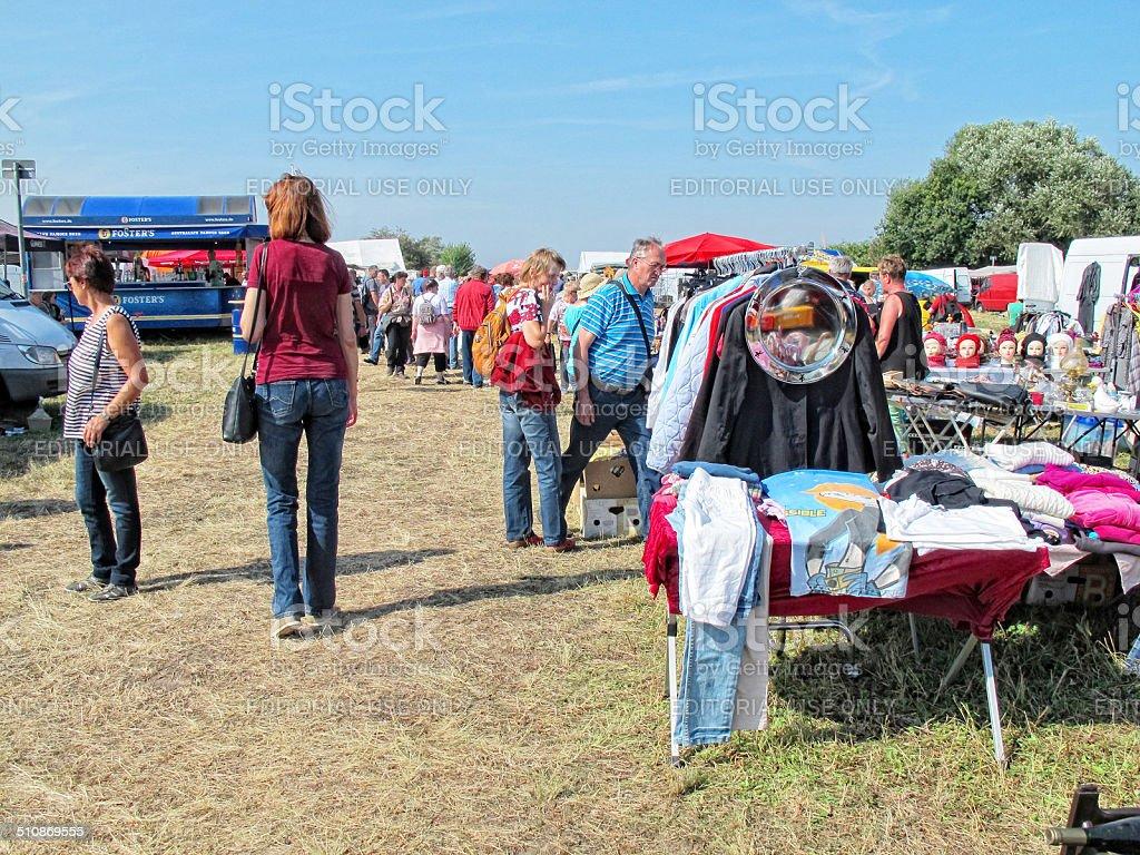 People visiting flea market stock photo