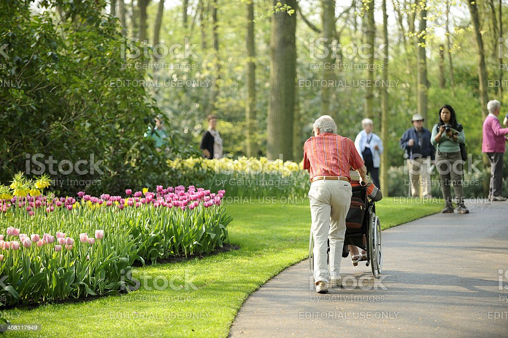 People visiting flower park Keukenhof in the Netherlands royalty-free stock photo