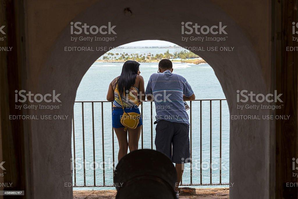 People visiting fort in San Juan, Puerto Rico stock photo