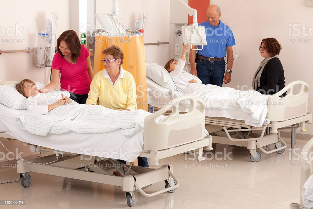people visiting hours in hospital stock photo