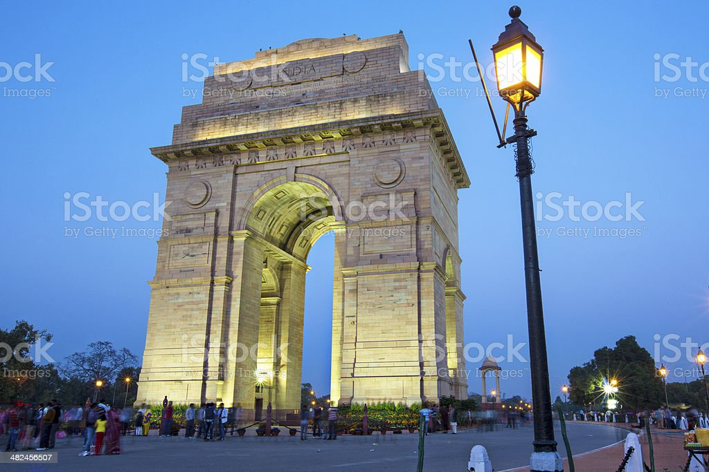 People visiting India gate stock photo