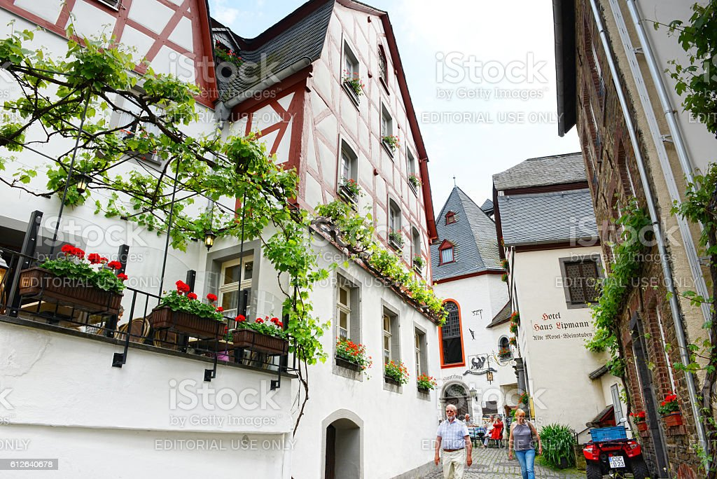 People visiting Moselle river village Beilstein. stock photo