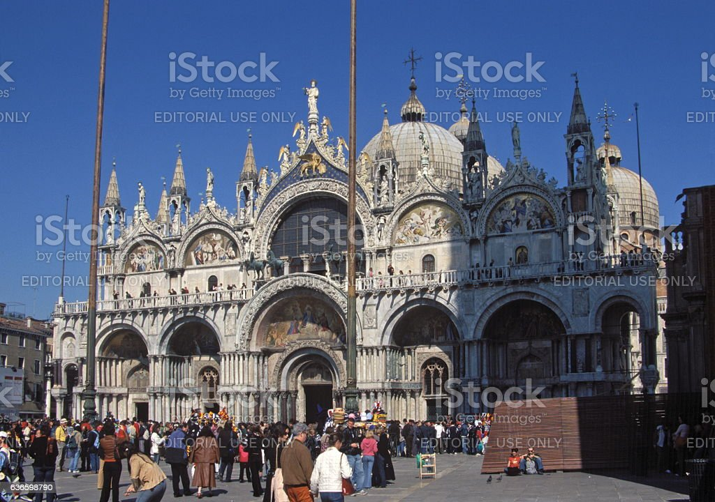 People visiting Saint Mark's Basilica in Venice, Italy stock photo