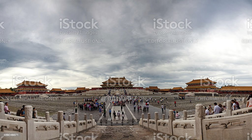 People visiting the Forbidden City stock photo