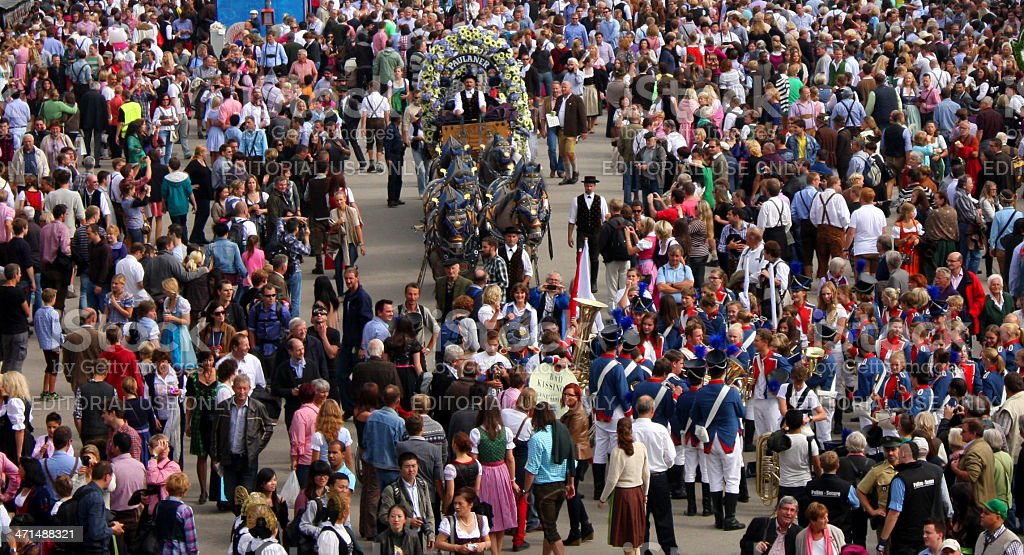 People visiting the Oktoberfest in Munich stock photo