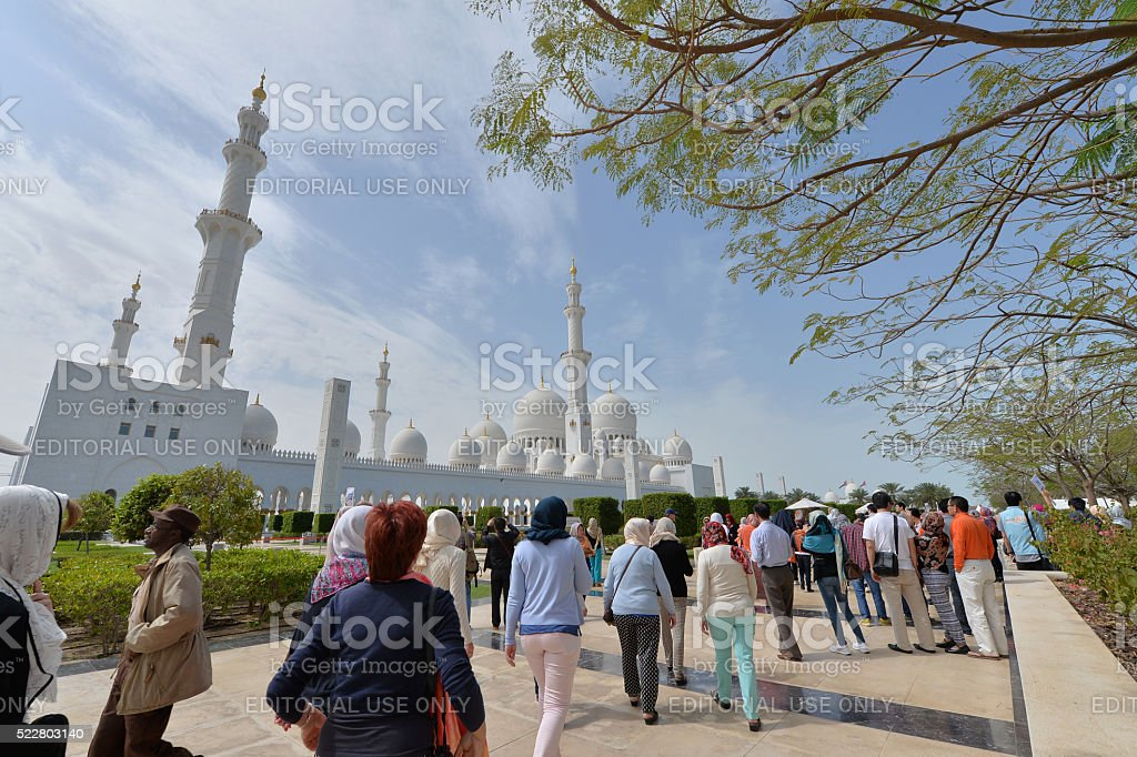 People visits to the Syeikh Zayed mosque stock photo